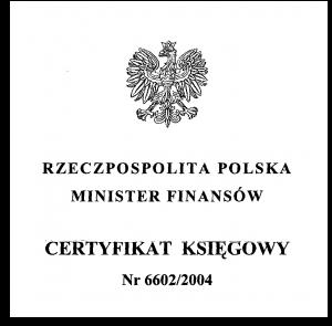 Certyfikat MF uprawniający do usługowego prowadzenia ksiąg rachunkowych.